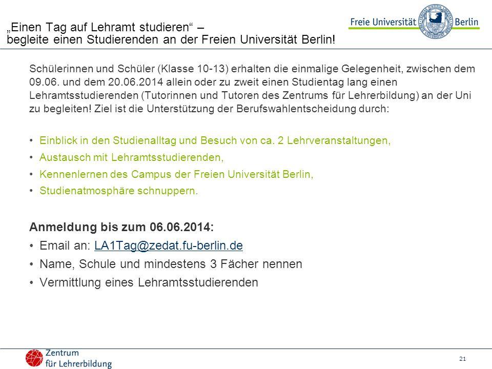 Email an: LA1Tag@zedat.fu-berlin.de