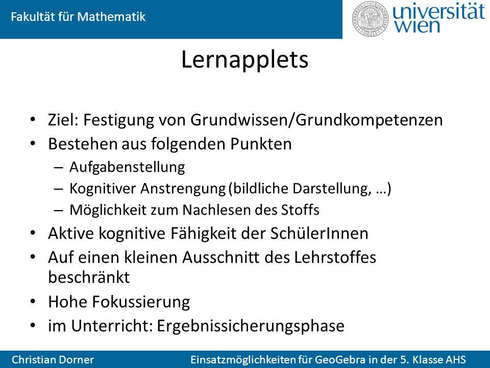 Lernapplets Ziel: Festigung von Grundwissen/Grundkompetenzen