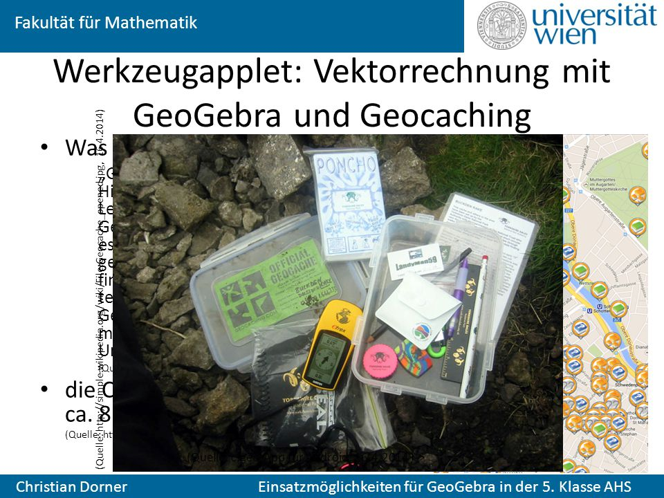 Werkzeugapplet: Vektorrechnung mit GeoGebra und Geocaching