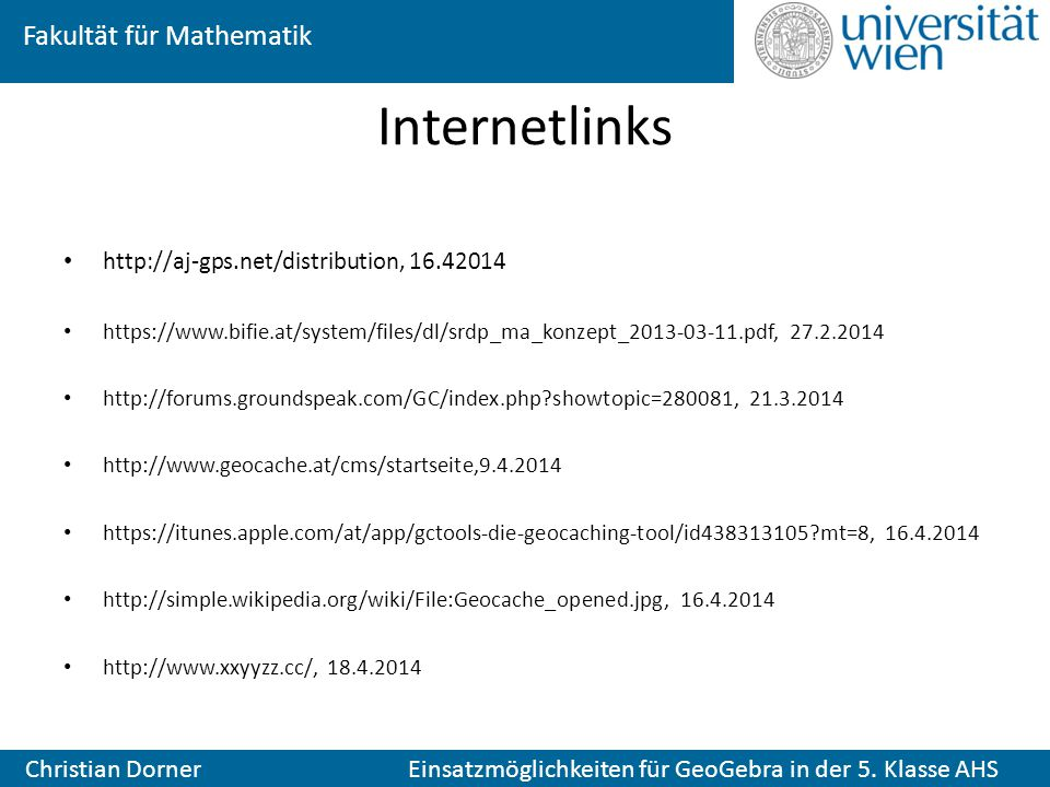 Internetlinks http://aj-gps.net/distribution, 16.42014