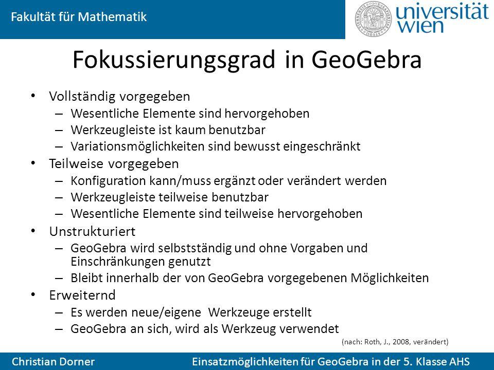 Fokussierungsgrad in GeoGebra