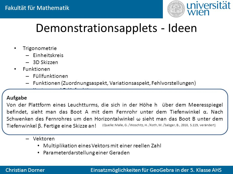 Demonstrationsapplets - Ideen
