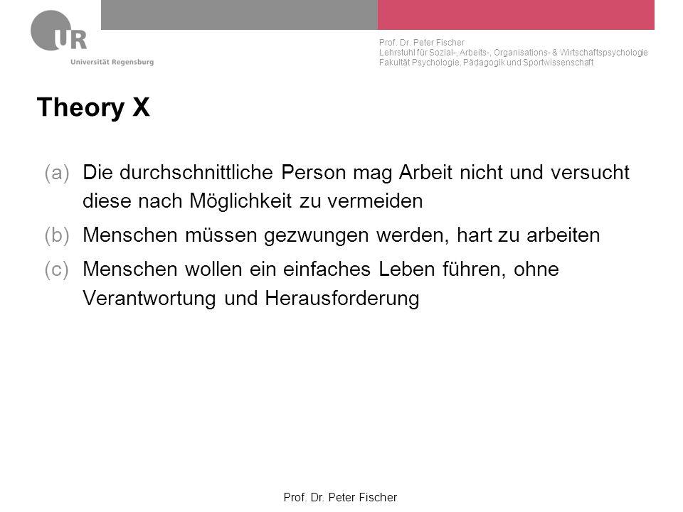 Theory X Die durchschnittliche Person mag Arbeit nicht und versucht diese nach Möglichkeit zu vermeiden.