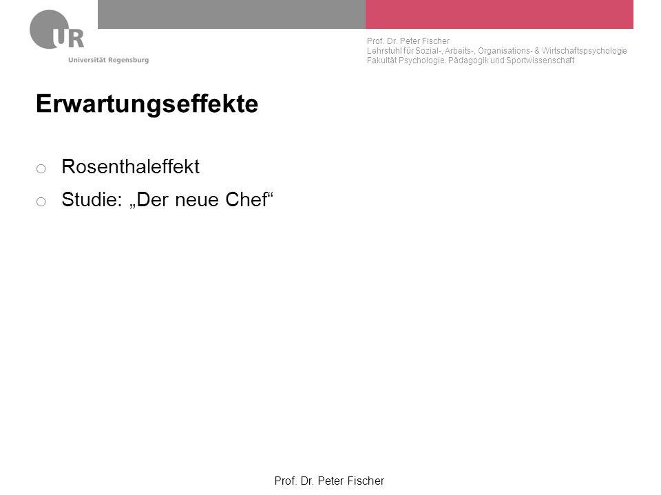 """Erwartungseffekte Rosenthaleffekt Studie: """"Der neue Chef"""