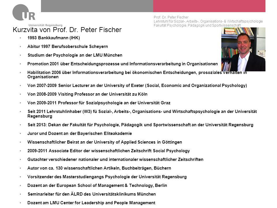 Kurzvita von Prof. Dr. Peter Fischer