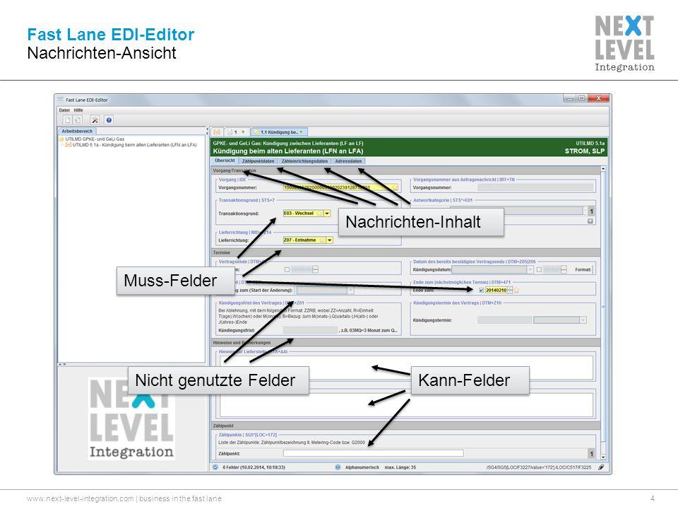 Fast Lane EDI-Editor Nachrichten-Ansicht Nachrichten-Inhalt
