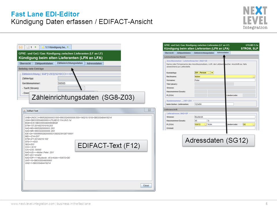 Kündigung Daten erfassen / EDIFACT-Ansicht