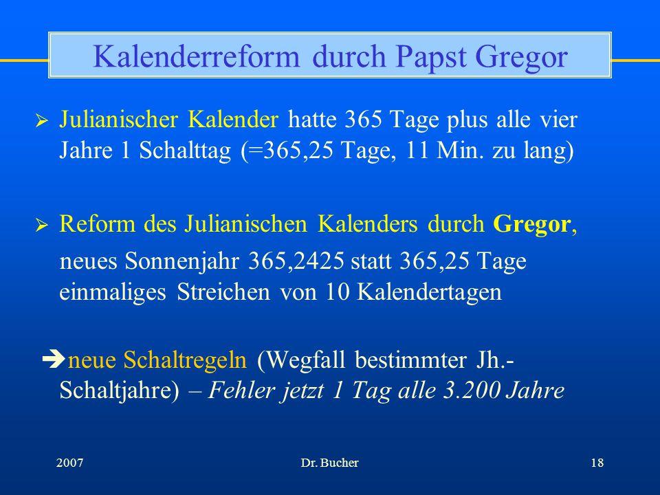 Kalenderreform durch Papst Gregor