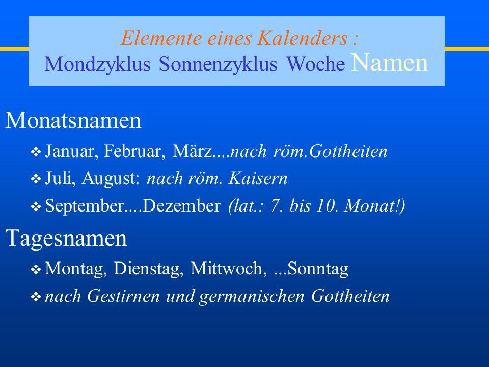 Elemente eines Kalenders : Mondzyklus Sonnenzyklus Woche Namen
