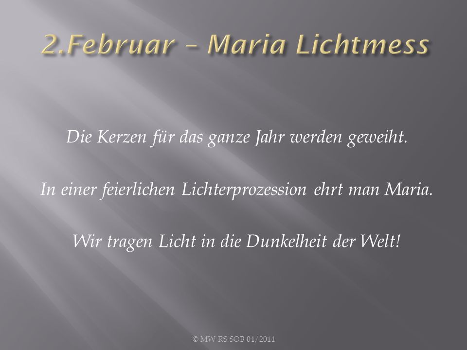 2.Februar – Maria Lichtmess