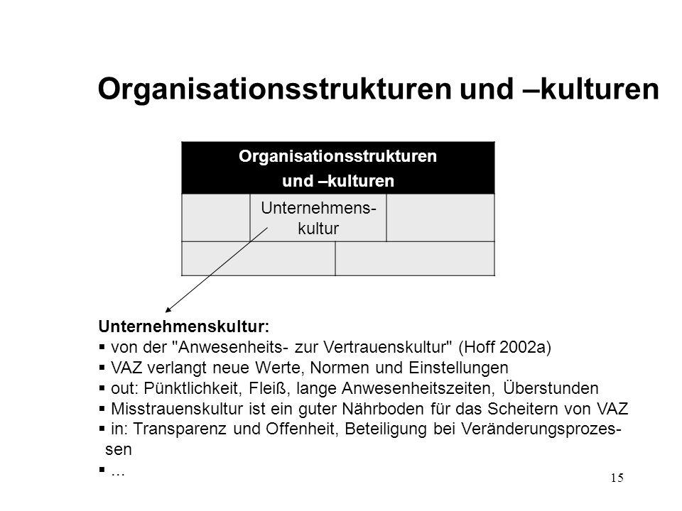 Organisationsstrukturen und –kulturen