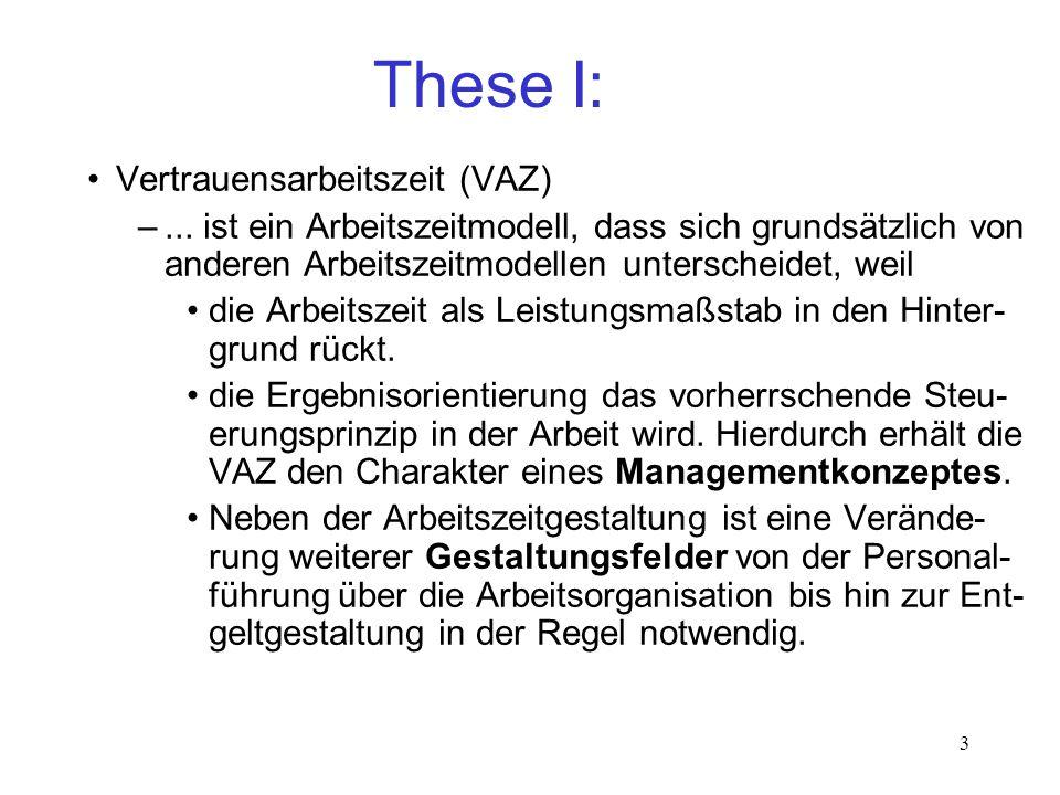 These I: Vertrauensarbeitszeit (VAZ)