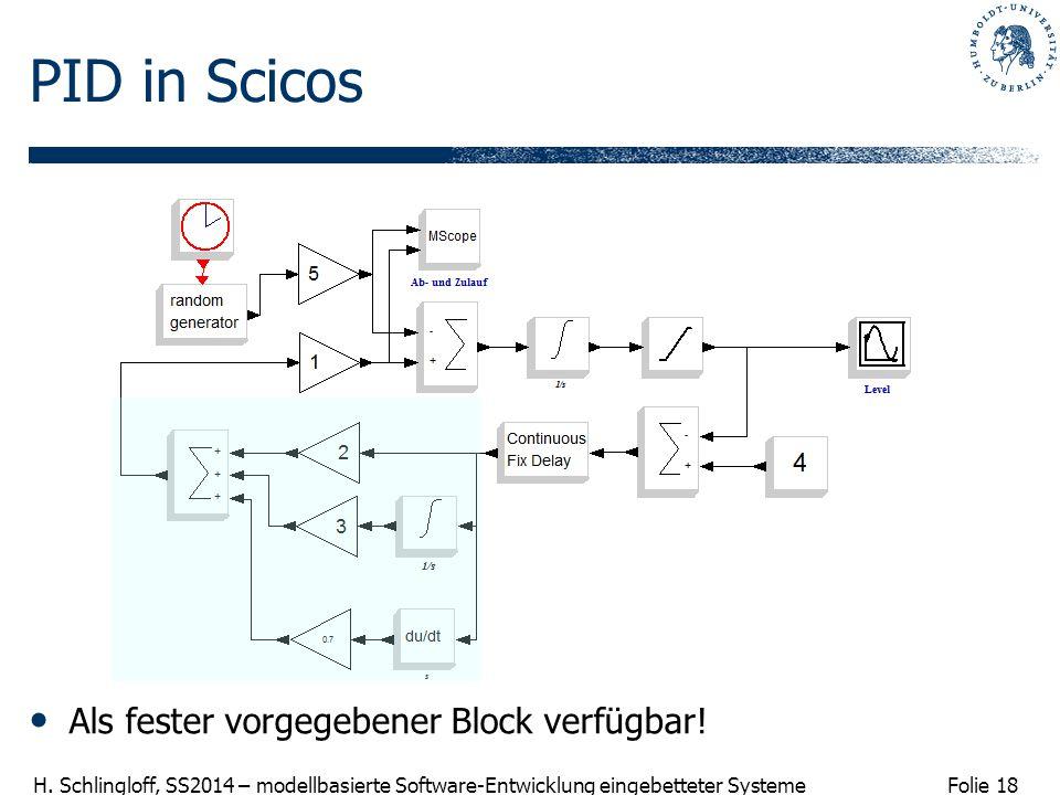 PID in Scicos Als fester vorgegebener Block verfügbar!