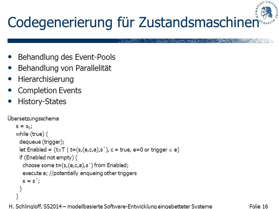 Codegenerierung für Zustandsmaschinen