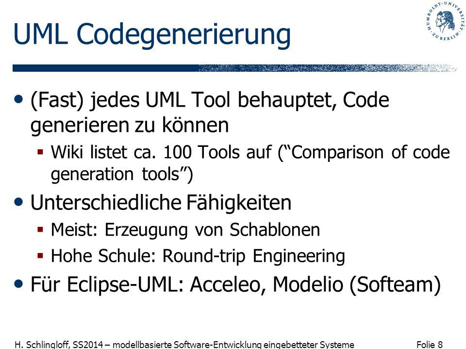 UML Codegenerierung (Fast) jedes UML Tool behauptet, Code generieren zu können.