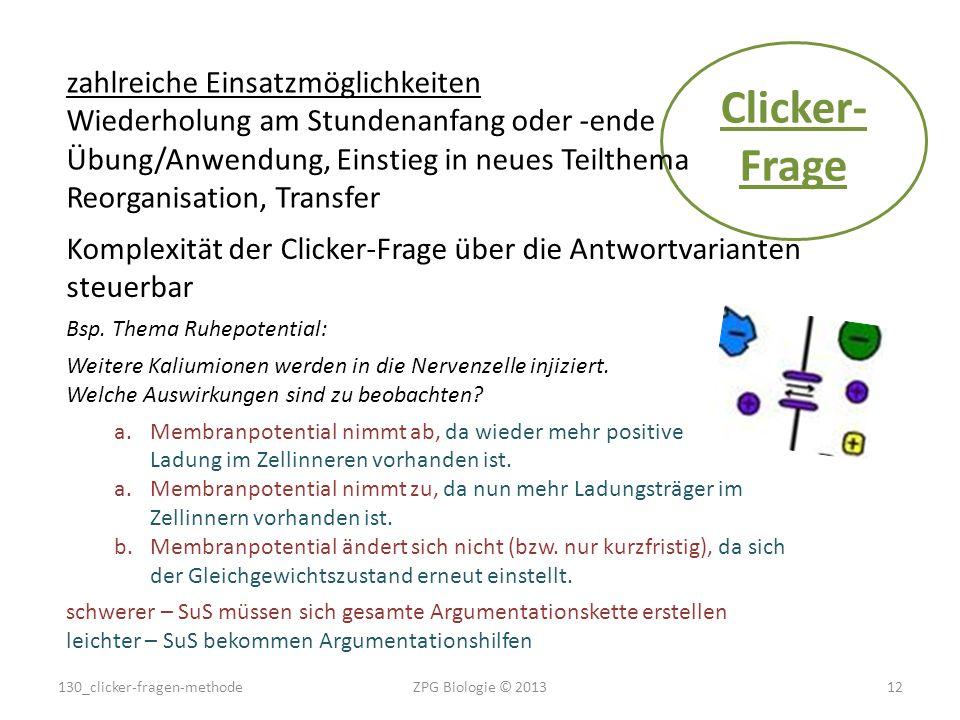 Clicker- Frage zahlreiche Einsatzmöglichkeiten