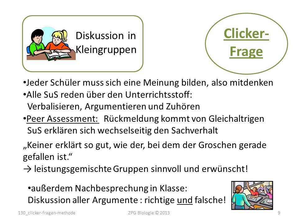 Clicker- Frage Diskussion in Kleingruppen