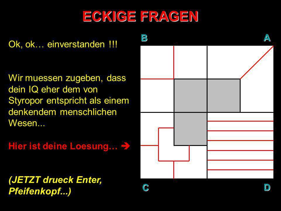 ECKIGE FRAGEN B A D C Ok, ok… einverstanden !!!