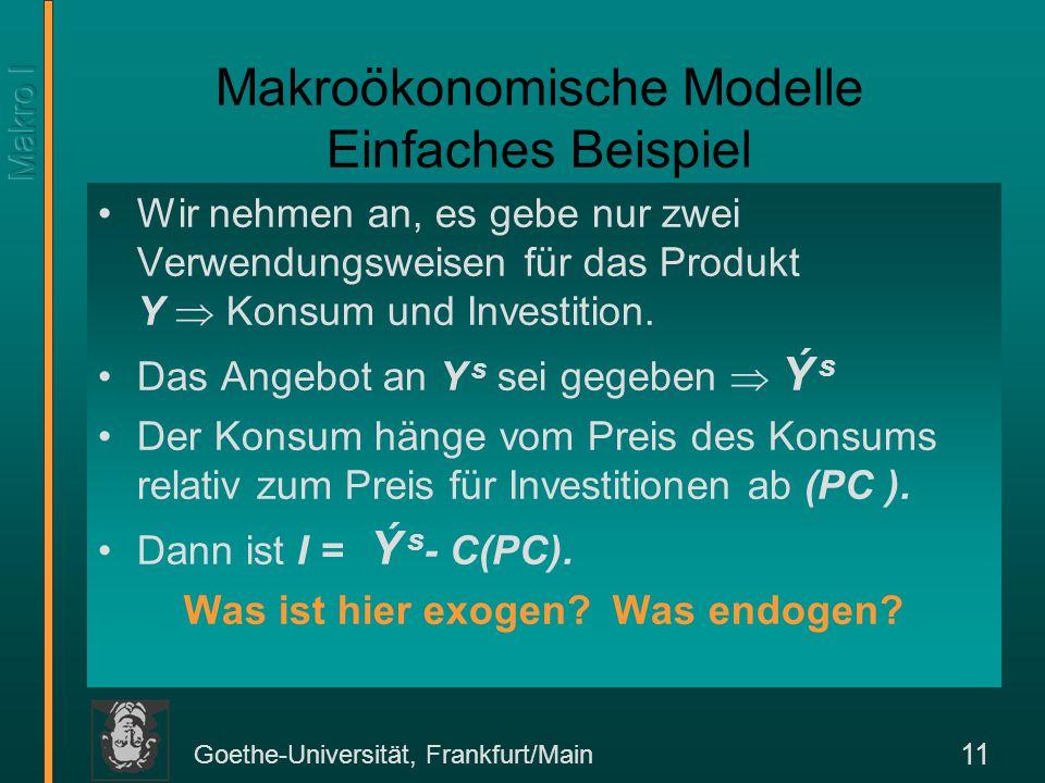 Makroökonomische Modelle Einfaches Beispiel