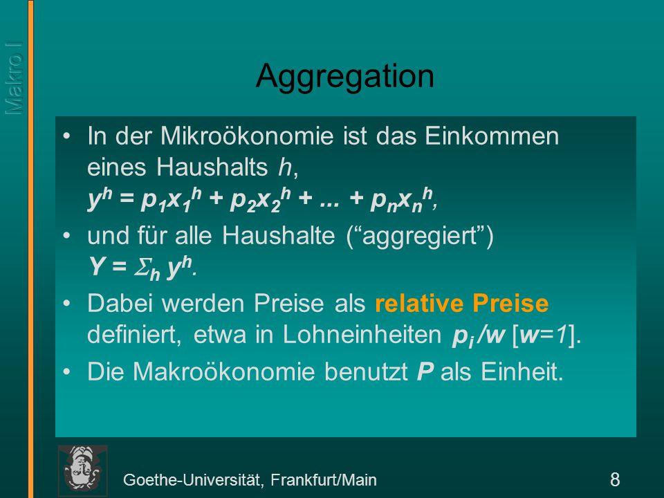 Aggregation In der Mikroökonomie ist das Einkommen eines Haushalts h, yh = p1x1h + p2x2h + ... + pnxnh,