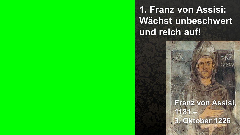 1. Franz von Assisi: Wächst unbeschwert und reich auf!