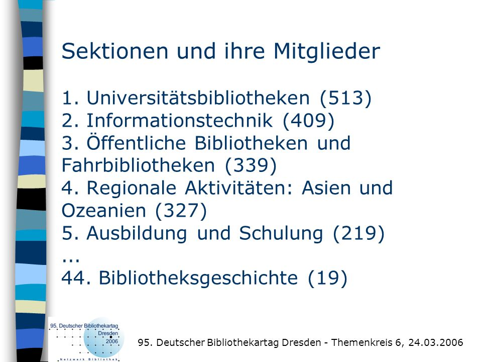 Sektionen und ihre Mitglieder 1. Universitätsbibliotheken (513) 2