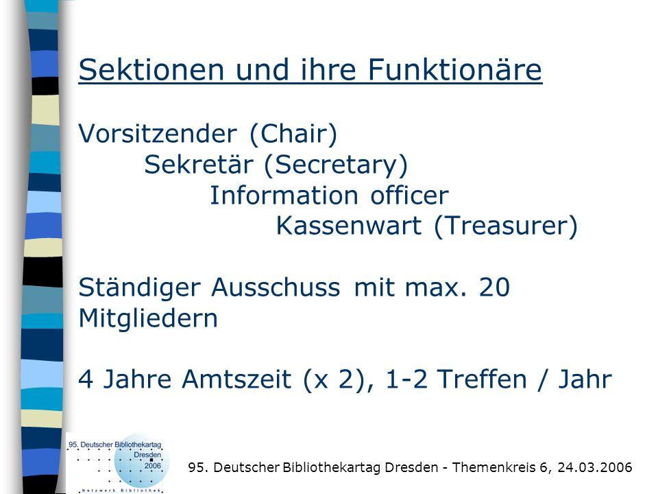 Sektionen und ihre Funktionäre Vorsitzender (Chair)