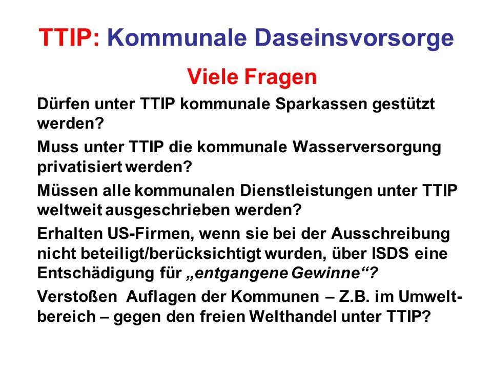 TTIP: Kommunale Daseinsvorsorge