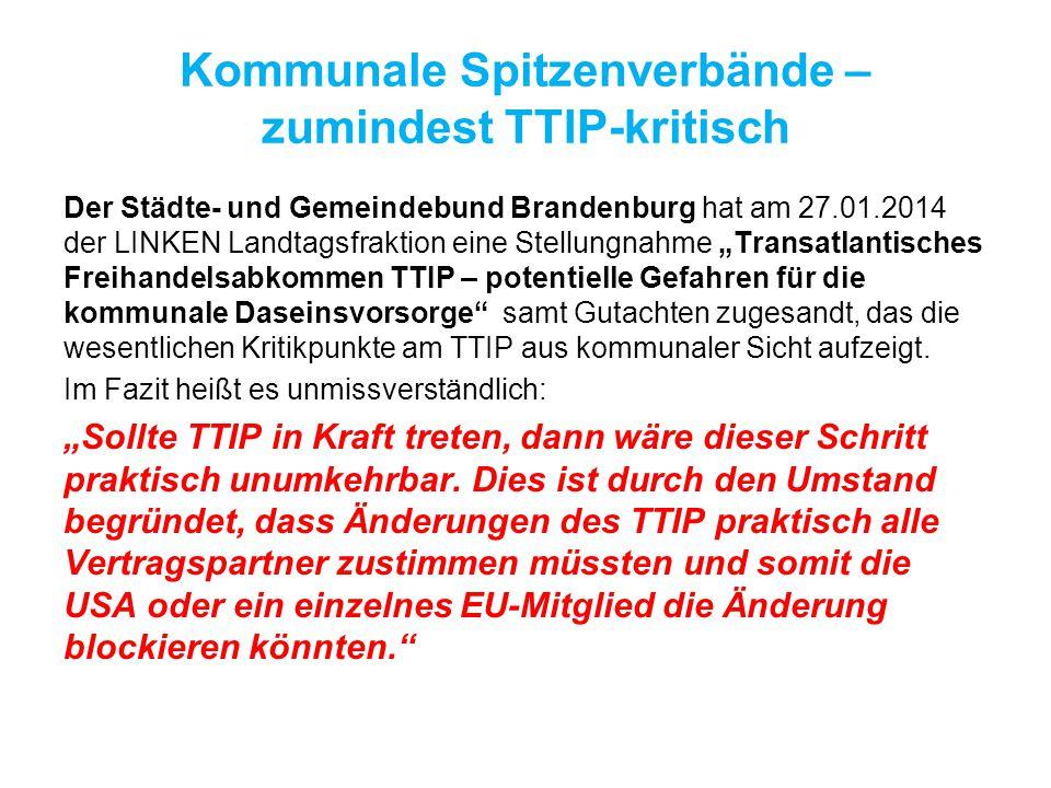 Kommunale Spitzenverbände – zumindest TTIP-kritisch