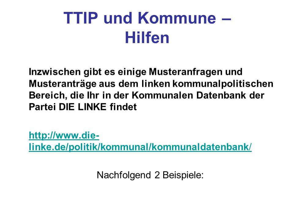 TTIP und Kommune – Hilfen
