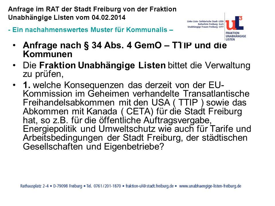 Anfrage nach § 34 Abs. 4 GemO – TTIP und die Kommunen