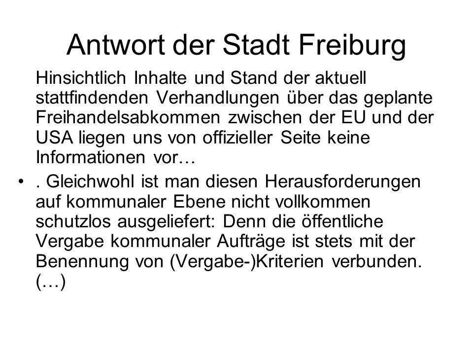 Antwort der Stadt Freiburg