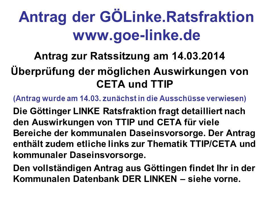 Antrag der GÖLinke.Ratsfraktion www.goe-linke.de