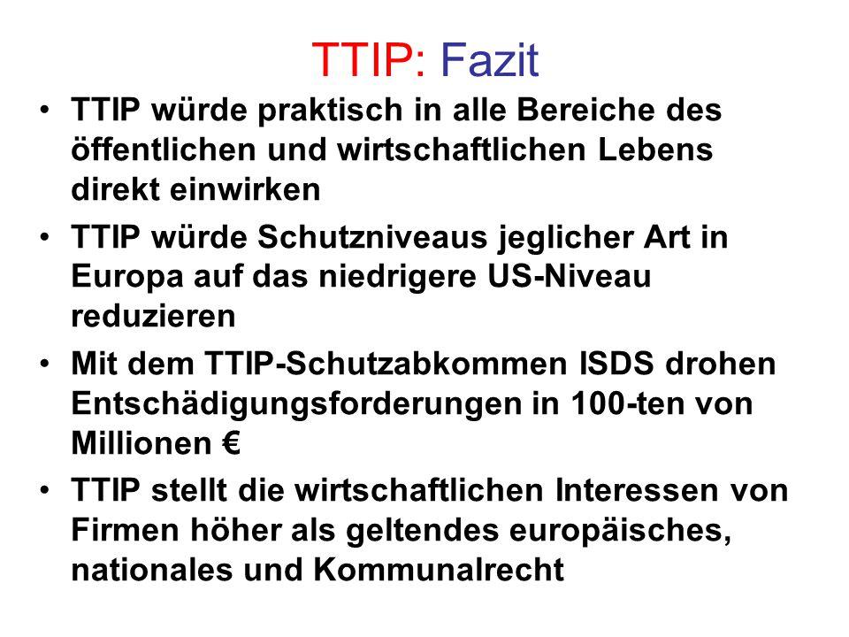 TTIP: Fazit TTIP würde praktisch in alle Bereiche des öffentlichen und wirtschaftlichen Lebens direkt einwirken.