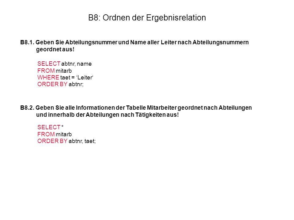 B8: Ordnen der Ergebnisrelation