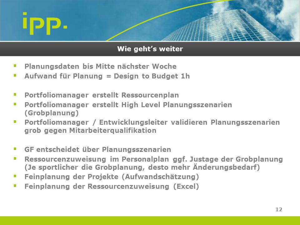 Wie geht's weiter Planungsdaten bis Mitte nächster Woche. Aufwand für Planung = Design to Budget 1h.