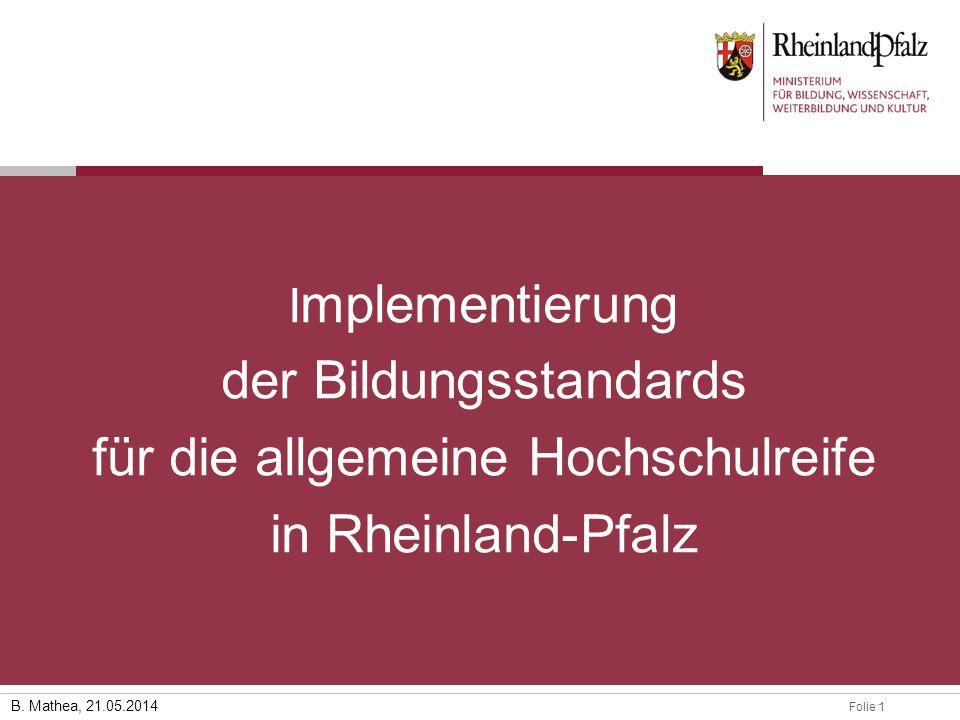 Implementierung der Bildungsstandards für die allgemeine Hochschulreife in Rheinland-Pfalz