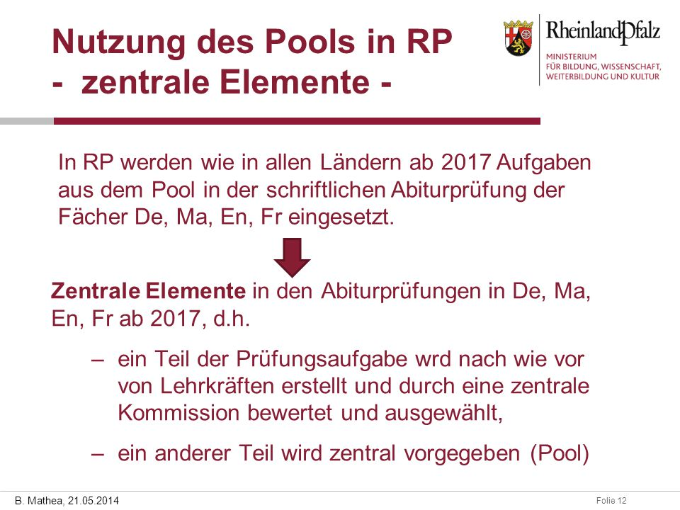 Nutzung des Pools in RP - zentrale Elemente -