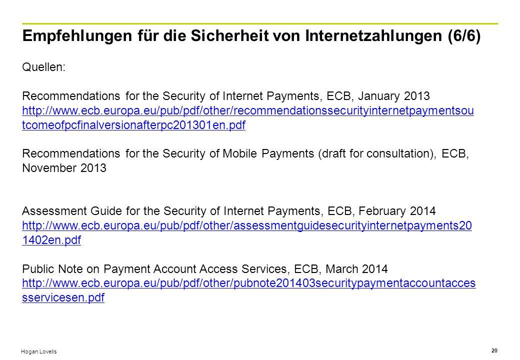 Empfehlungen für die Sicherheit von Internetzahlungen (6/6)