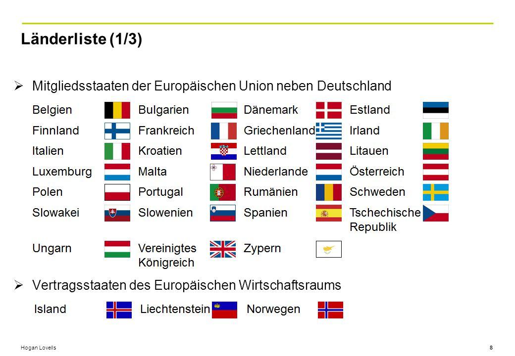 Länderliste (1/3) Mitgliedsstaaten der Europäischen Union neben Deutschland.