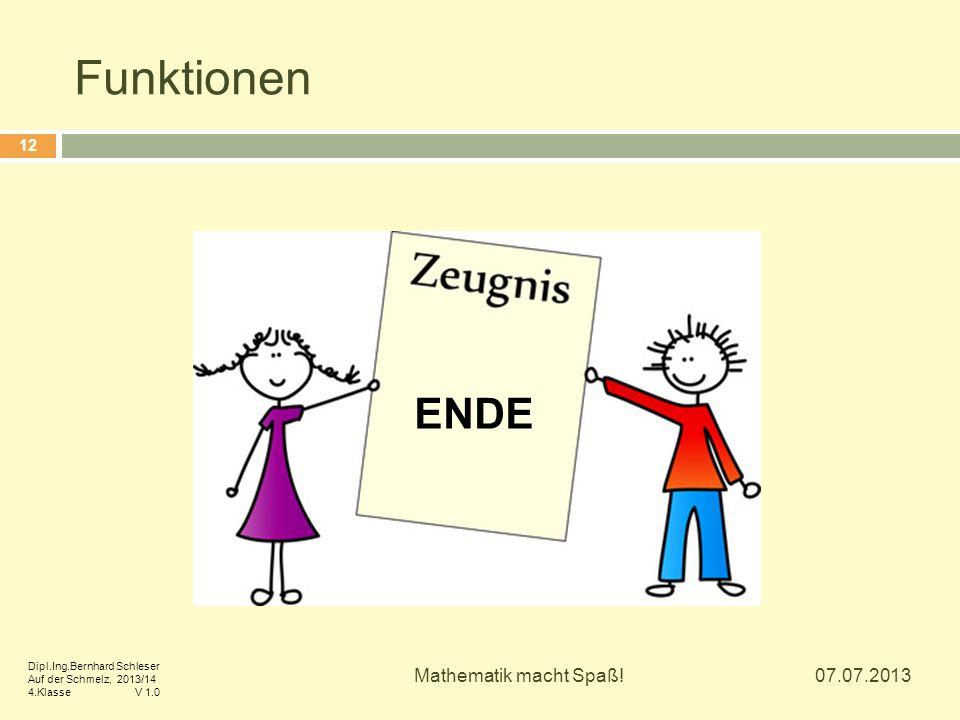 Funktionen ENDE Mathematik macht Spaß! 07.07.2013