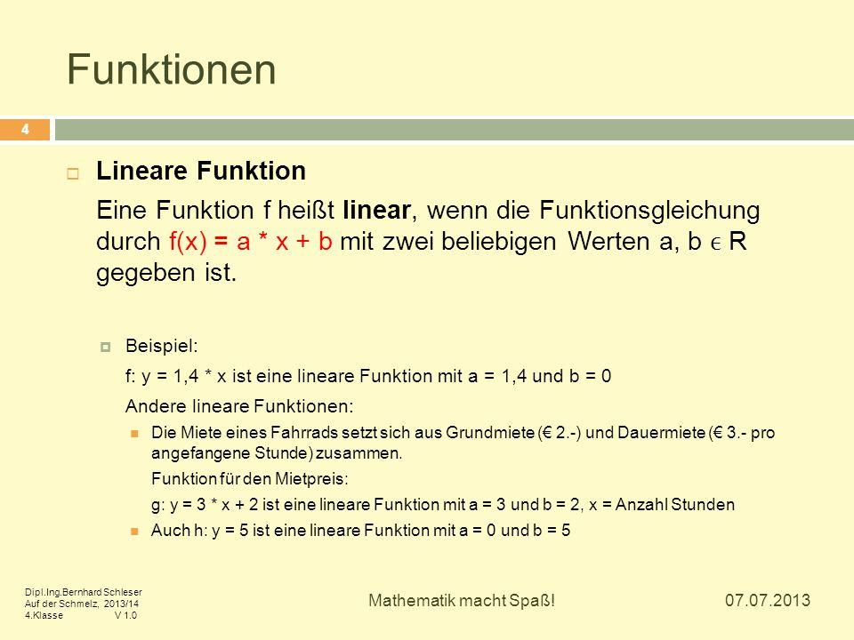 Funktionen Lineare Funktion