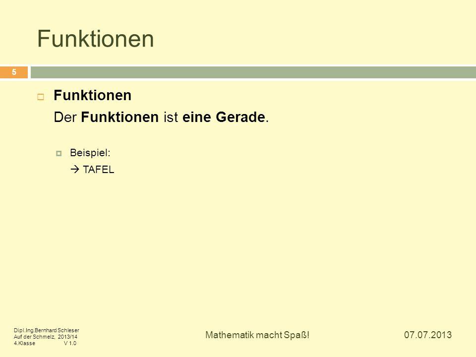 Funktionen Funktionen Der Funktionen ist eine Gerade. Beispiel: