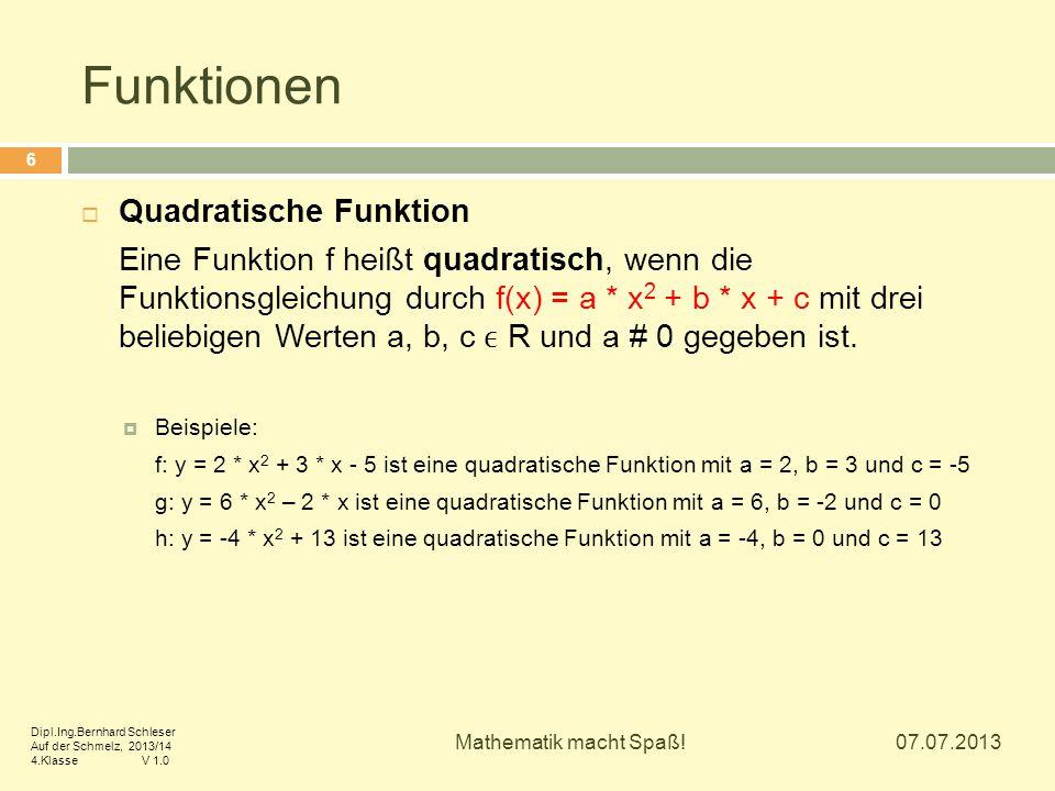Funktionen Quadratische Funktion
