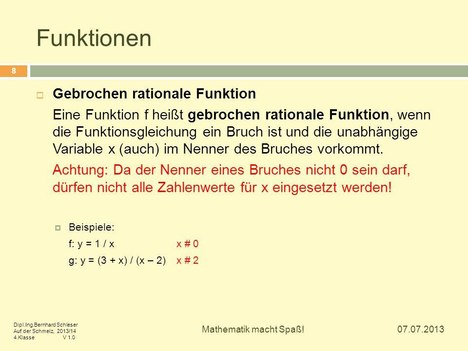 Funktionen Gebrochen rationale Funktion