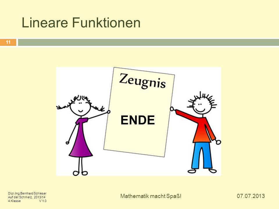 Lineare Funktionen ENDE Mathematik macht Spaß! 07.07.2013