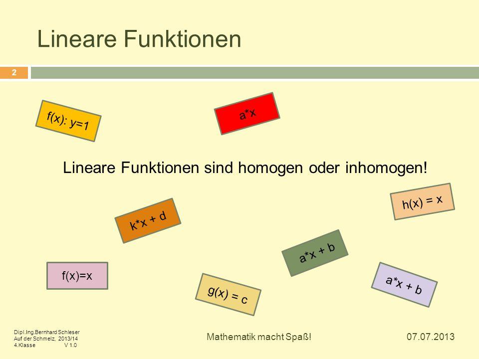 Lineare Funktionen sind homogen oder inhomogen!