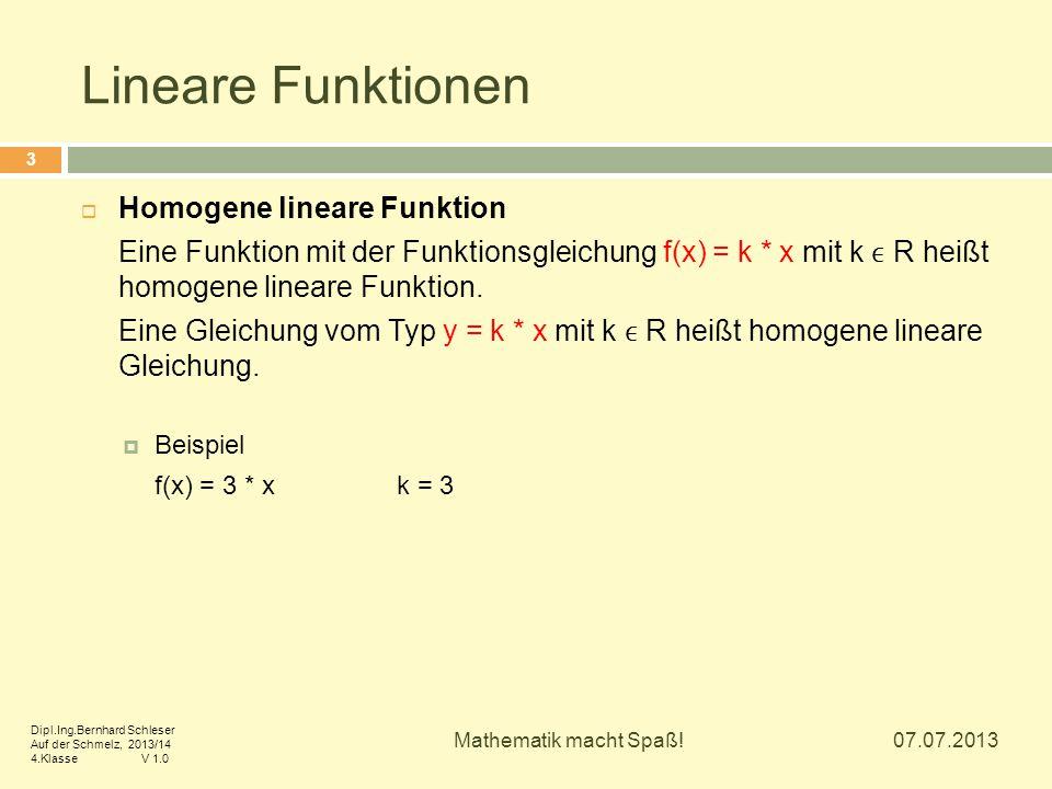 Lineare Funktionen Homogene lineare Funktion