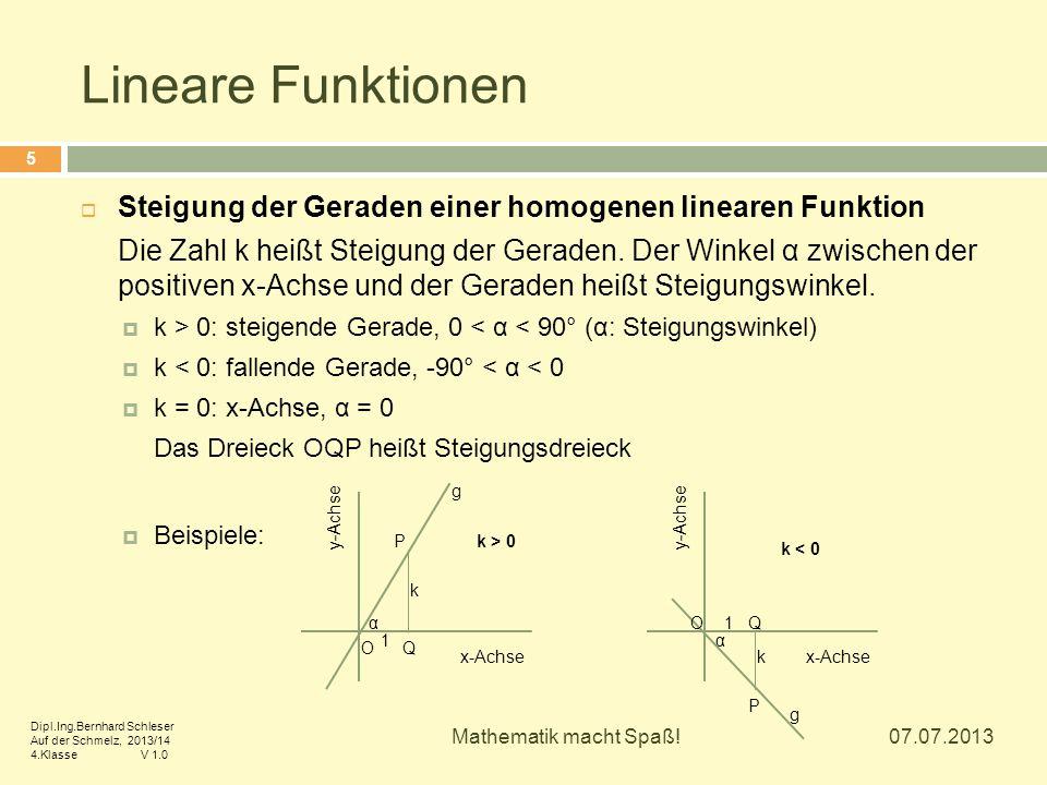 Lineare Funktionen Steigung der Geraden einer homogenen linearen Funktion.