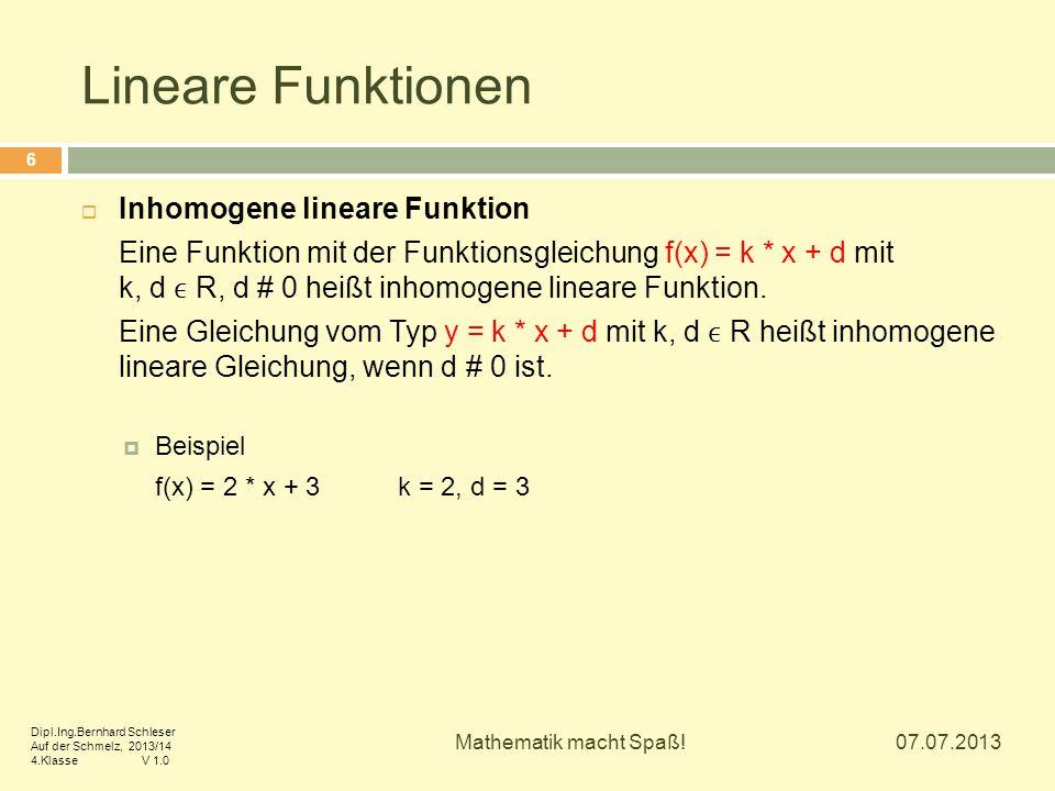 Lineare Funktionen Inhomogene lineare Funktion